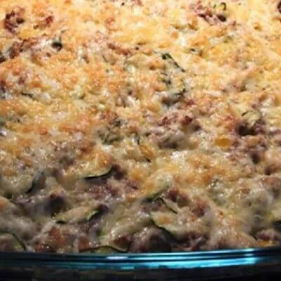 Zucchini-Champignion-Hackfleisch-Auflauf
