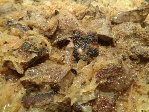 Schweineleber mit Sauerkraut